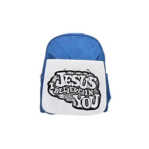 6ee33a56bc9e Delicado Jesus I Believe in you Printed Kid  s blue Backpack