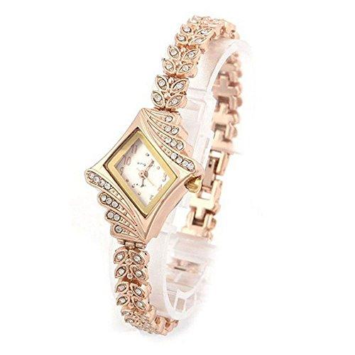 Ladies Watches,WM & MW Fashion Crystal Diamond Rhombus Bracelet Bangle Quartz Wrist Watch for Women (White) (Bracelet Watch Quartz Bangle)