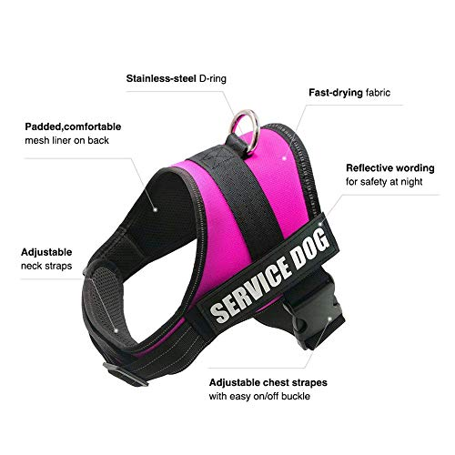 Image of FAYOGOO Dog Vest Harness for Service Dogs, Comfortable Padded Dog Training Vest with Reflective Patches and Handle for Large Medium Small Dogs (XSmall: Chest 18-21