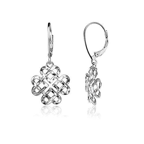 Celtic Knot Heart Earrings (Sterling Silver Diamond-cut Celtic Heart Love Knot Leverback Earrings)