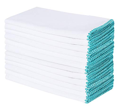 Cotton Clinic 20x20 Cloth Dinner Napkins Teal Stitch with White Base - Set of 12 ()