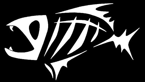 Fish Skeleton G. Loomis Vinyl Decal Sticker|Cars Trucks Vans Walls Laptops|WHITE|5.5 In|KCD547 (G 3 Fishing Boats)