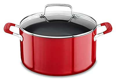 KitchenAid KC2A60LCER Aluminum Nonstick 8.0 quart Stockpot with Lid - Empire Red, Medium