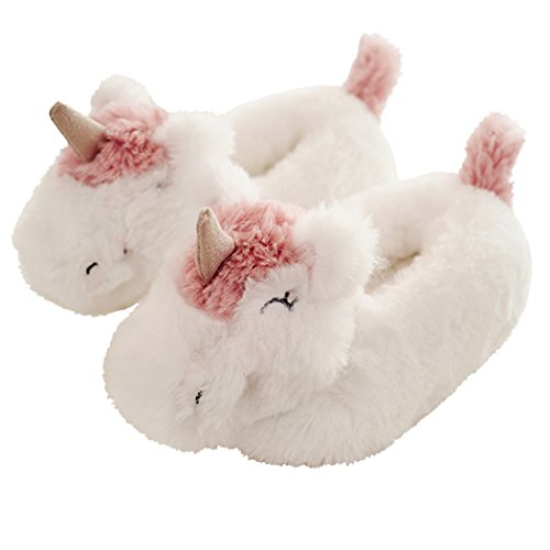 HALLUCI Women's Cozy Fleece Memory Foam House Trick Treat Halloween Slippers (5-6 M US, Unicorn The Knight Closed Back)]()