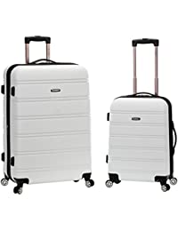 20 Inch 28 Inch 2PC Expandable ABS Spinner Set, White, One Size