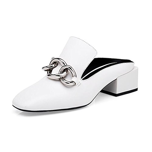 MUMA Zapatos de tacón Sandalias de cabeza cuadrada para mujer 2018 Summer New Zapatillas de mujer negras en blanco Baotou Cool Zapatillas de mujer en Europa y Estados Unidos con talón grueso con pantu