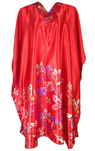Up2date Fashion Women Satin Short Caftans (Red Floral Vines) -