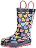 Western Chief Girls' Waterproof Printed Rain Boot, Happy Hearts, 9/10 Medium US Toddler