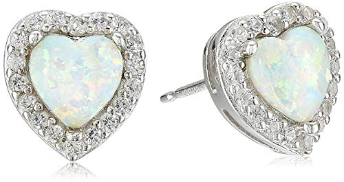Earrings Silver Engagement (Sterling Silver Created Opal and Created White Sapphire Halo Heart Stud Earrings)