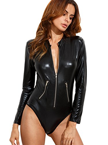Verdusa Women's Long Sleeve Leather Zip Detail Sexy Bodycon Clubwear Bodysuit Black L