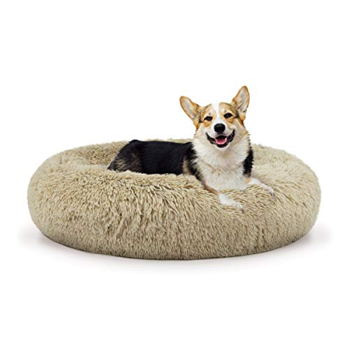 The Dog's Bed Sound Sleep Donut Dog Bed, Med Beige Plush Removable Cover Premium Calming Nest Bed