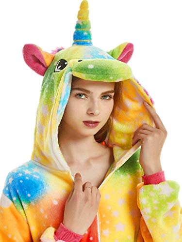 Adult Pajamas Unicorn Costume Onesies for Women Men Teen Girl Animal Onsie Youth,New Rainbow Unicorn,L Fit Height 66