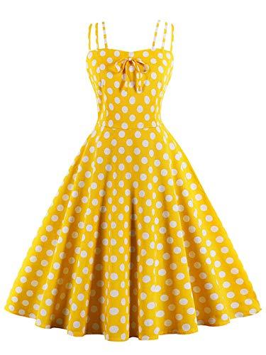 Polka Delgada Ftvogue Boda Vestido Para Péndulo Impreso Oscilación Mujer Fiesta De Eslinga Baile Dot Retro WY0qrZYa