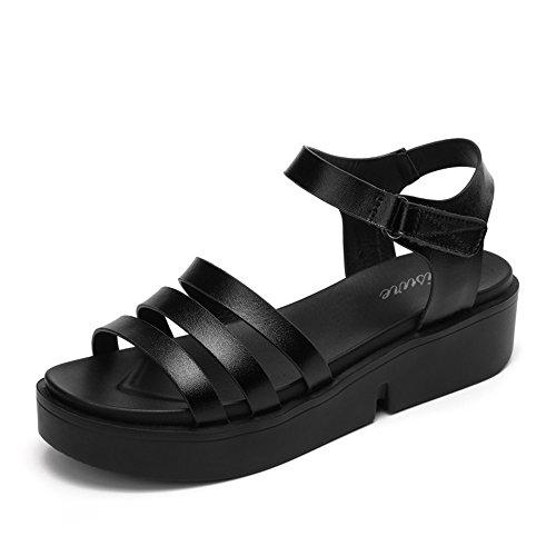 CHANCLAS SANDALS 5cm Sandalias de estudiante de verano femenino Sandalias gruesas (blanco / negro) elegante ( Color : Blanco , Tamaño : EU39/UK6/CN39 ) Negro