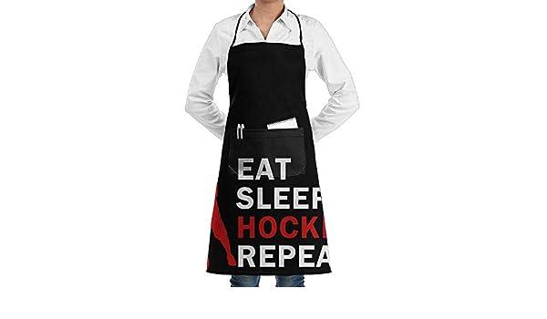 Funny Novelty Apron Kitchen Cooking Eat Sleep Ice Hockey