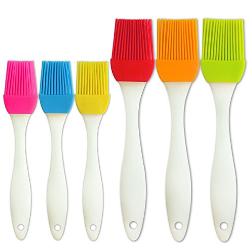 kingleder Assorted Color Silicone Basting Brush for Desserts Baking Barbecue Pastry BBQ(Set of 6)