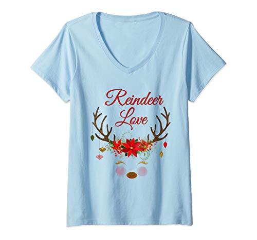 Deer Poinsettia - Womens Reindeer Love Deer Antlers Poinsettia Christmas Ornaments V-Neck T-Shirt