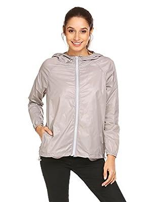 Zeagoo Women Lightweight Rainwear Active Outdoor Hoodie Cycling Running Windbreaker Jacket