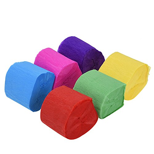 Price comparison product image Outus Crepe Paper Streamers 6 Colors, 1.77 Inch x 29.6 Feet (6 Rolls)