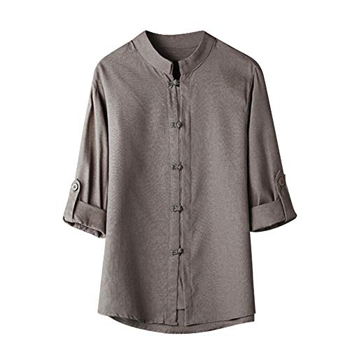 Sunhusing Men Solid Color Seven-Point Sleeve Short T-Shirt Retro Classic Features Chinese Wind Buckle Shirt