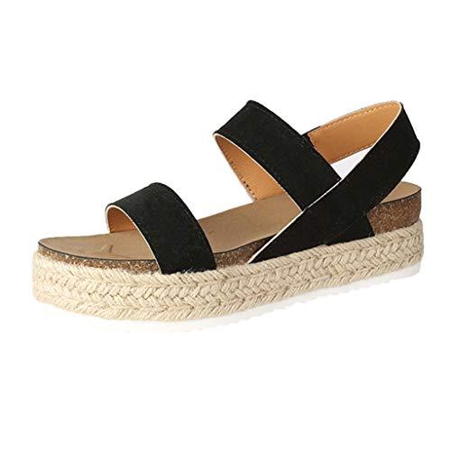 (NIKAIRALEY Shoes Women's Wedge Platform Sandals Casual Espadrilles Flatform Ankle Strap Open Toe Slingback Summer Sandals Black )