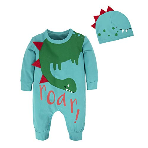 BIG ELEPHANT Baby Boys'2 Pieces Cute Dinosaur Long Sleeve Romper Pajama with Hat Style C T21-73 6-12 Months