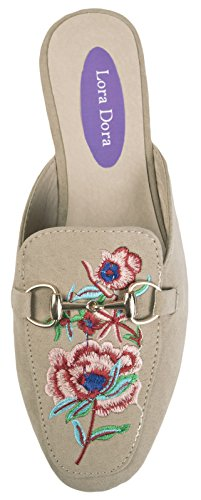 Lora Dora Womens Embroidered Backless Loafer Floral Mules Nude rdZUN