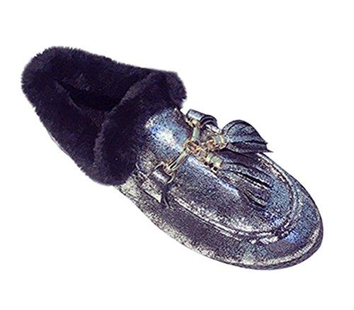 T&Mates Womens Cute Tassels Cosy Fur Lining Slip-on Boat Shoes Walking Flat Moccasin Slippers (8.5 (Stealth Skateboard Deck)