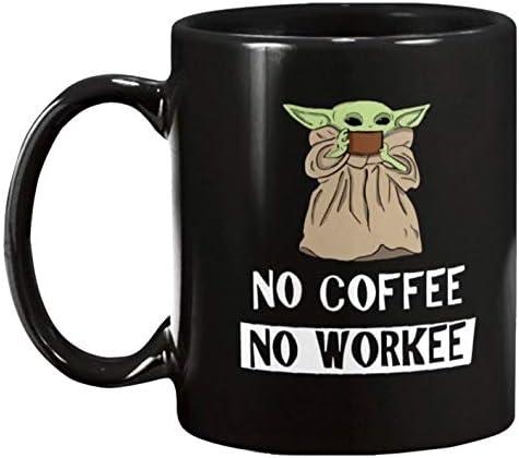 The Green Baby Space Child Mando Mug | No Coffee No Workee Funny Meme | Black Ceramic Mug 11 oz