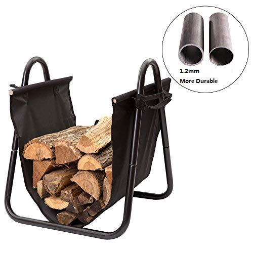 DOEWORKS 18 Inches Log Carrier Firewood Mover Hauler Rack with Canvas Carrier, Black ()