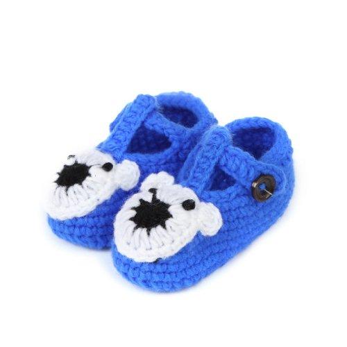 Smile YKK Gestrickte Baby Schuhe Krabbelschuhe flauschige Länge 11 cm Blau  Koala Dunkelblau G ...