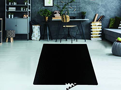 Sizi 4pc Large Black Interlocking Eva Foam Mat Tiles Gym Kids Flooring Garage Floor Mats 60cm x 60cm Ltd