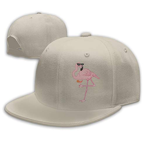 Sakanpo Sunglass Flamingos Flat Visor Baseball Cap, Designed Snapback Hat Natural
