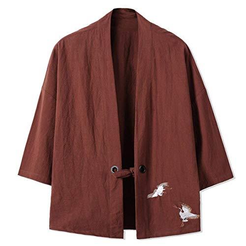 Haori Manteau Longues Unie Locker Couleur Brodé Décontracté Kimono À Veste Col Manches Outwear Kaffee Hommes Moderne V Coton Vêtements POaZqPr
