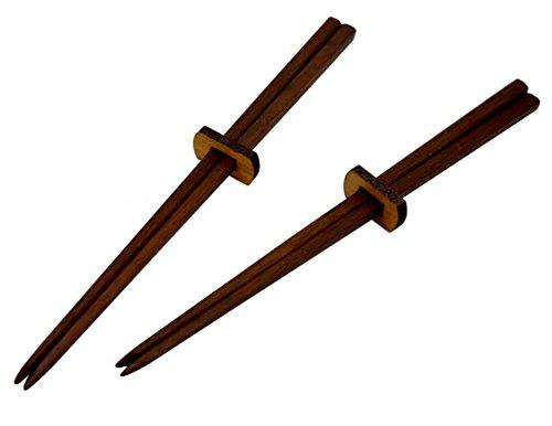 American Made Black Walnut Wood Chopsticks and Holder, Set of 2