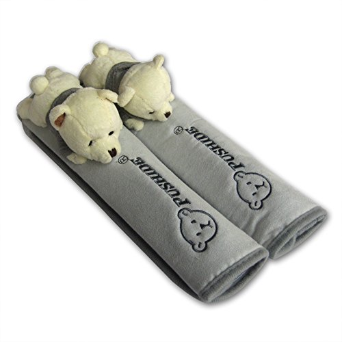 Price comparison product image Tianmei 2Pcs Bear Doll Styling Faux Suede Car Seat Belt Strap Cover (Shoulder Strap Pad) (Color Gray)