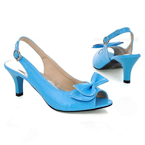 TAOFFEN Mujer Moda Mini Tacon Slingback Sandalias Tacon Medio Zapatos con Bowknot Azul
