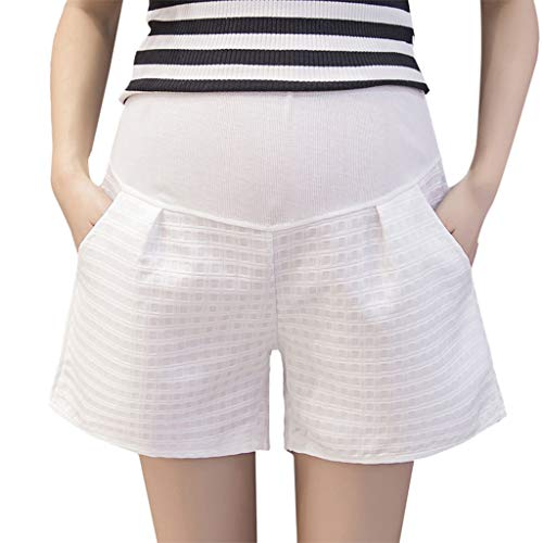 (Maternity Shorts for Womens Pregnant Summer Casual Short Pants Stripe Stretch High Waist Safety Shorts (L, White))