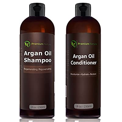 Argan Oil Shampoo and Conditioner Set - ( 2x 8oz) Sulfate Free All Organic Hair Repair - Volumizing & Moisturizing Hair Regrowth - Treatment for Hair Loss Premium Nature