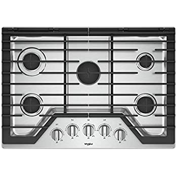 6c72a34f8ee Whirlpool 30-inch 5 Burner Gas Cooktop with Griddle Stainless Steel  WCG97US0HS
