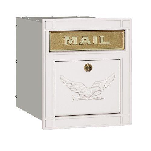 Salsbury Industries 4145E-WHT Cast Aluminum Column Mailbox Locking Eagle Door, White by Salsbury Industries