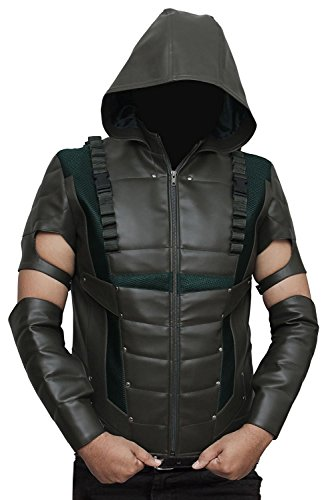 Superhero Costume Leather Jacket Collection (L, Arrow Vest)