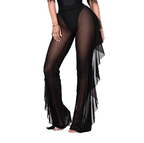 Women Perspective Sheer Mesh Casual Pants Bikini Bottom Cover up Long Trousers (Black, XL)