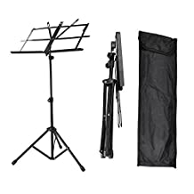 SaveOnMany Compact & Portable Adjustable Foldable Folding Sheet Music Stand with Carrying Bag - Black