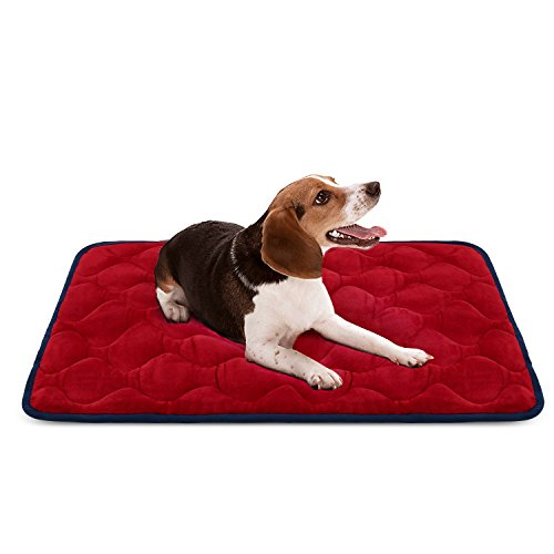 Dog Bed Mat Washable - Soft Fleece Crate Pad - Anti-slip Matress for Small Medium Large Pets (Red M) by HeroDog (Furniture Crate Outdoor)