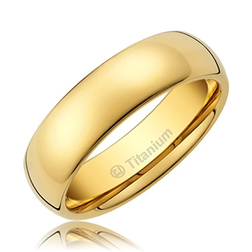 5MM Titanium Promise Engagement Rings for Men | Wedding Bands for Him | 14K Gold-Plated | Polished Finish [Size 6]