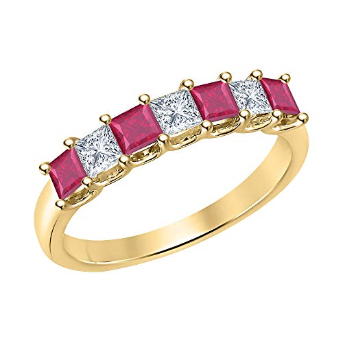 (Princess Cut Ruby & Diamond Half Eternity 14k Yellow Gold .925 Sterling Silver Wedding 7-Stone Band Ring for Women)