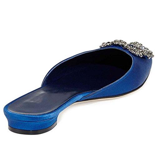 Rhinestones satin Womens For Mule Sandals Embellishment Slides Blue Toe Slippers Satin Mavirs Sandals Women Flat Jeweled Pointed UwHYqUaIn