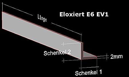 50 cm Alu Winkel silber eloxiert E6 EV1; 10 x 10 x 2 mm; Aluprofil L Profil Aluminiumprofil Winkelprofil /… 2 Stck.