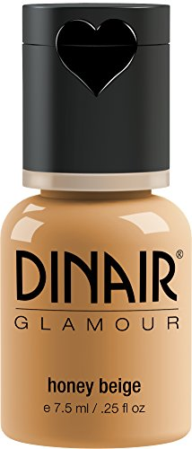 Dinair Airbrush Makeup Foundation | Honey Beige | GLAMOUR: Natural, Light coverage, Matte 1/4 oz.
